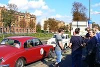 In de stad Dresden even verzamelen voor overleg van de verdere route