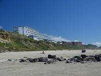 Uitzicht vanaf strand Newport