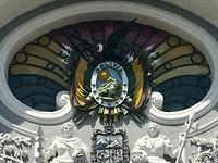 Teken van Bolivia met de kleuren, 9 sterren en oa een condor