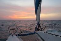 Sunset op de catamaran