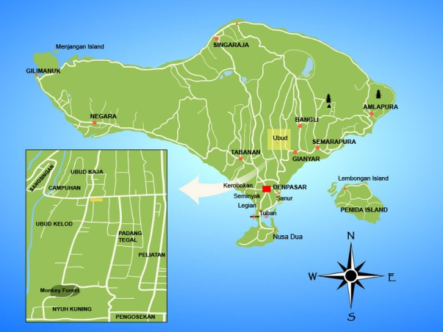 Map Of Ubud With Best Restaurants