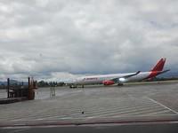 Klaar voor vertrek van Bogota naar Curaçao.