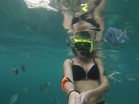 Onder water tijdens het snorkelen
