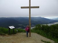 Met kabelbaan naar boven en dan naar topje berg