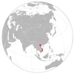 Vietnam op de wereldbol
