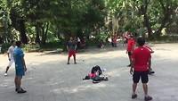 Shuttle football @ Wat Phnom