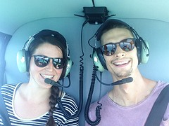 In de helicopter