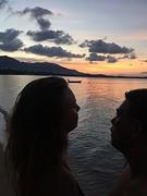 Didi en ik bij zonsondergang