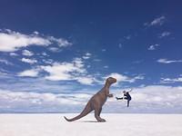 Was er echt een dinosaurus of is het een perspectieffoto??🦖🦖