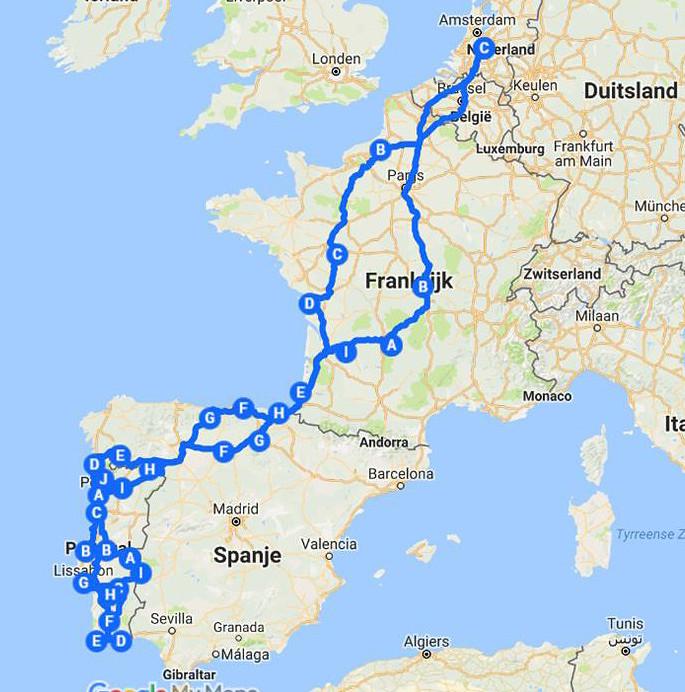 Route Van Onze Reis Door Frankrijk Spanje Portugal 2014 2015