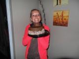 Op mijn laatste avond trakteerde ik de vrijwilligers en Frances op een chocolade cake