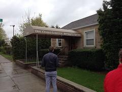Huis als ingang naar graf rebbe Schneerson