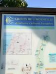 De santiago tocht staat nogal eens in een stadje op de kaart