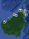 Mijn route van zes weken door Borneo
