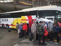 De bus; lijndienst van a corunja naar lissabon