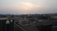 De ondergaande zon vanaf het dak van ons hotel.