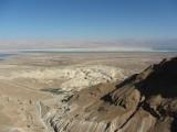 Uitzicht vanaf de top van de Massada-berg op de Dode Zee