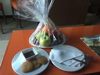 Complimentary voor de upgrade.. lekker fruit en koekjes
