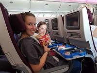 Jammie in het vliegtuig