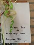 Welkomstbriefje van Ellen.