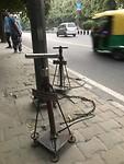 Fietspompen langs de weg voor algemeen gebruik
