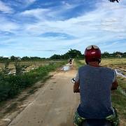 W op de brommer in de rijstvelden