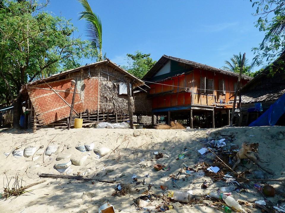 Vissersdorp in de valley van maungmagan