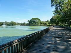 De teakhouten loopbrug rondom het meer