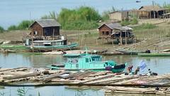 Bamboe werkers aan de rivier