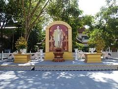 Koning Bhumibol bij Wat Chedi