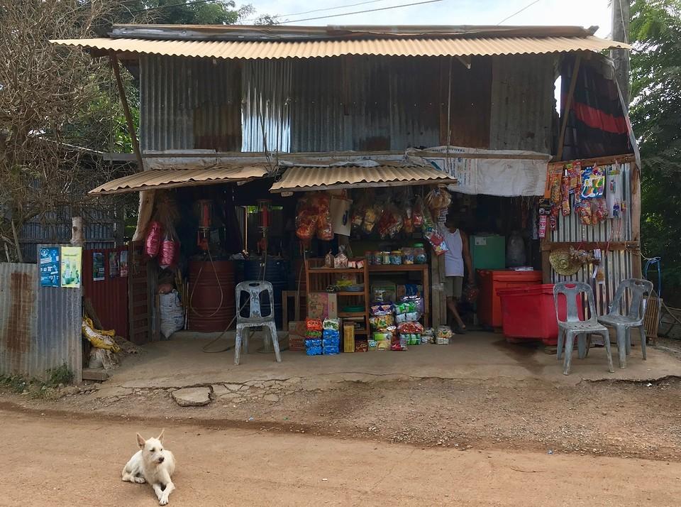 Supermarkt, gasoline, noten en een hond