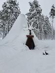 Tippietent van sneeuw