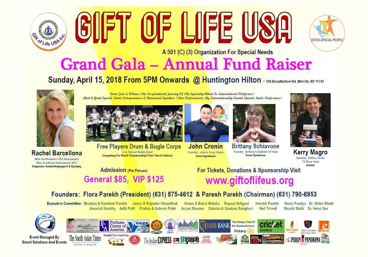 Gift of Life USA - Annual Gala - Non Profit For Special Needs - April 15, 2018 @ Huntington Hilton