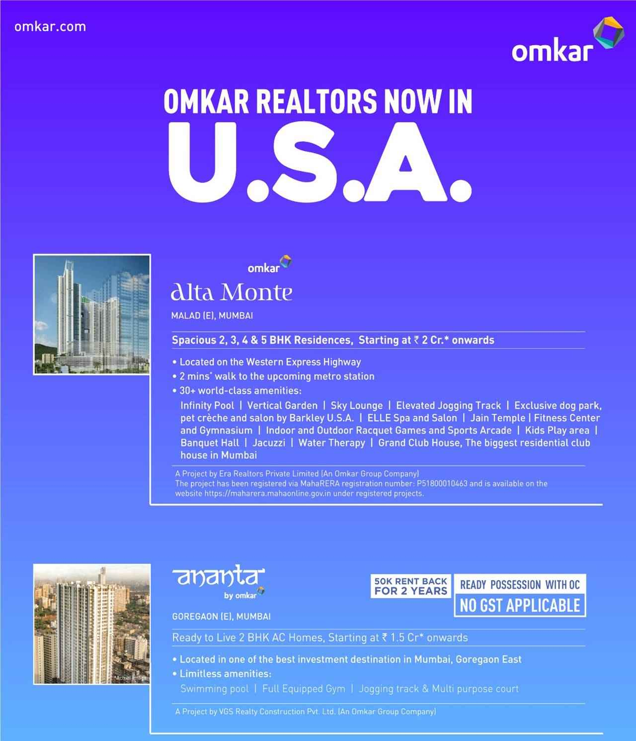 Special NRI Offers for Mumbai Properties by Omkar
