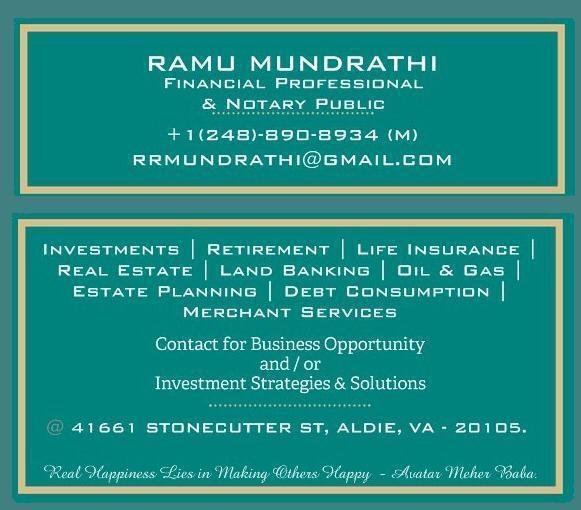 Ramu Mundrathi Financial Professional & Notary Public
