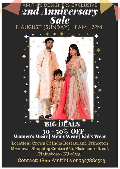 Amithi's 2nd Anniversary Sale in Plainsboro, NJ