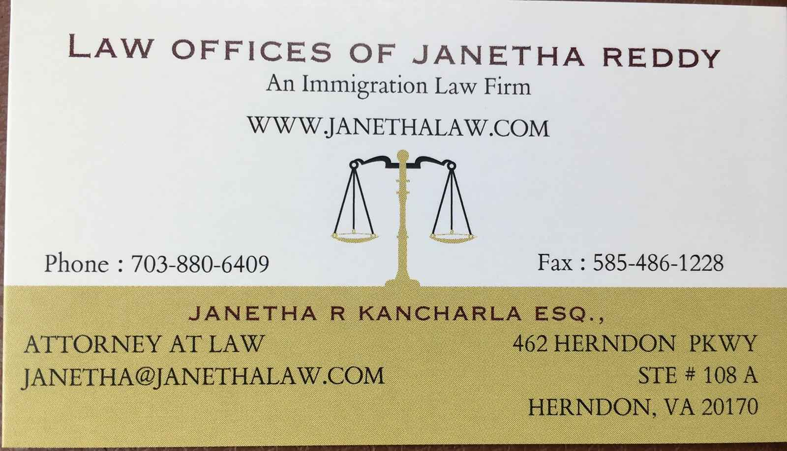 LAW OFFICES OF JANETHA REDDY