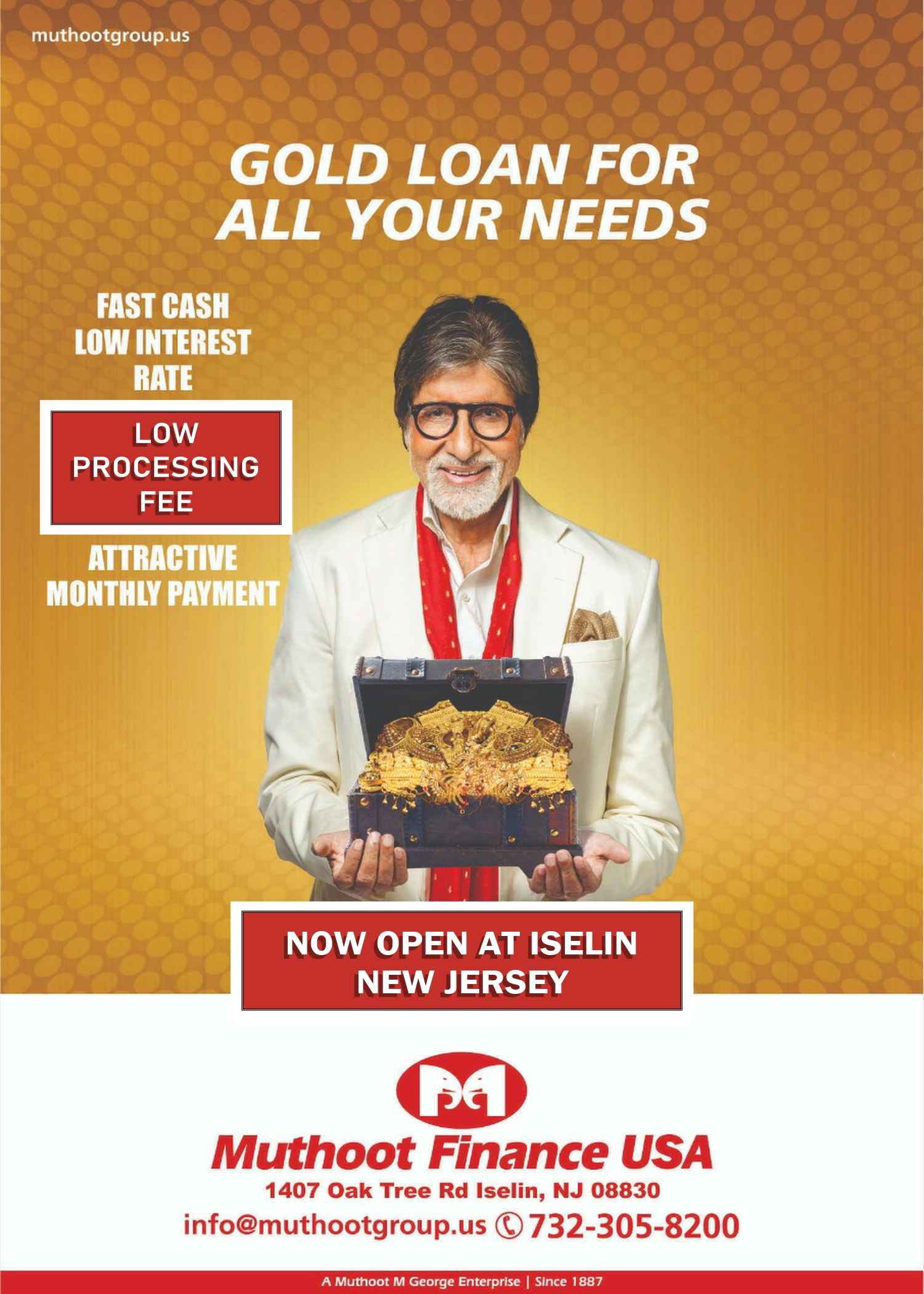 Muthoot Finance now open in Iselin, New Jersey