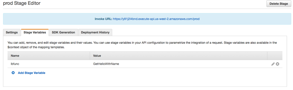 Next, set up the stage variable in the new deployment stage to point to the  second Lambda function, GetHelloWithName :