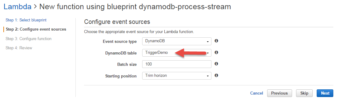 AWS Lambda Function Setup: Configuring the DynamoDB Stream Event Source