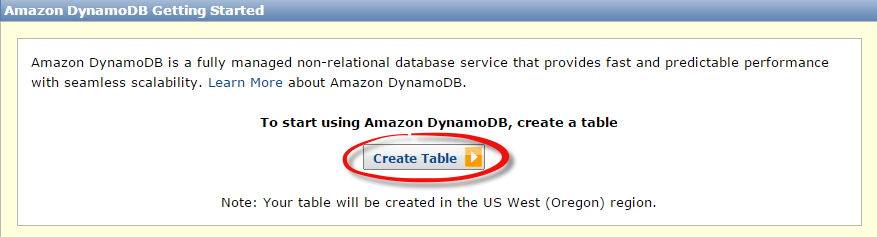 Amazon DynamoDB Setup: Table Creation