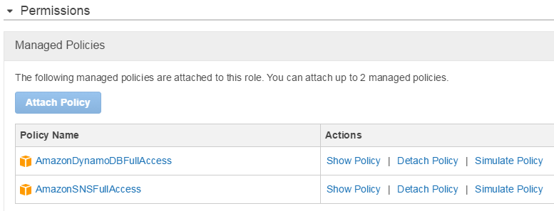 AWS Lambda Function Setup: Adding Managed Policies for SNS and DynamoDB