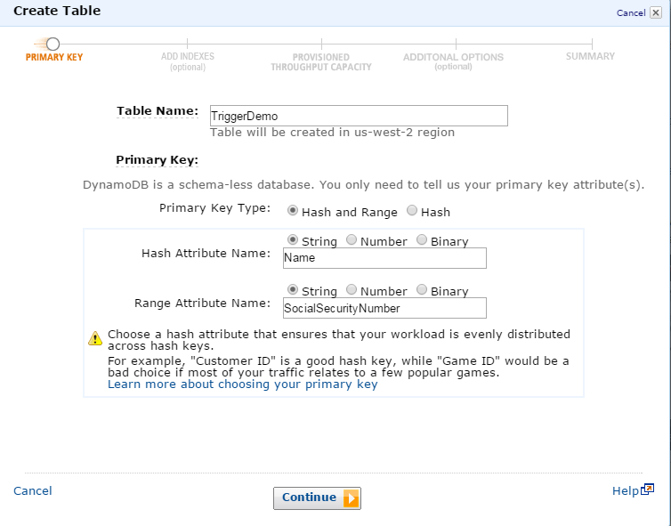 Amazon DynamoDB Setup: Primary Key Configuration