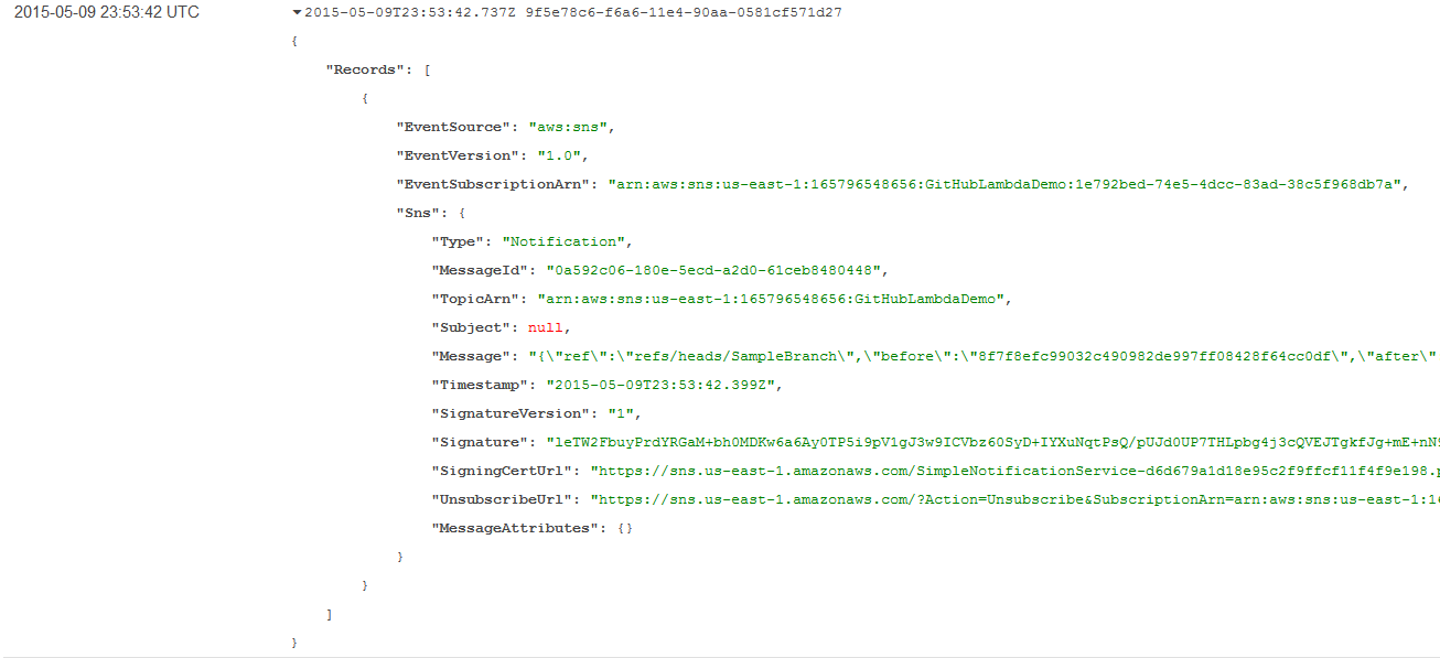GitHub Test Event in the CloudWatch Log