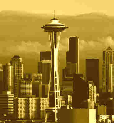Sepia-toned Seattle Skyline