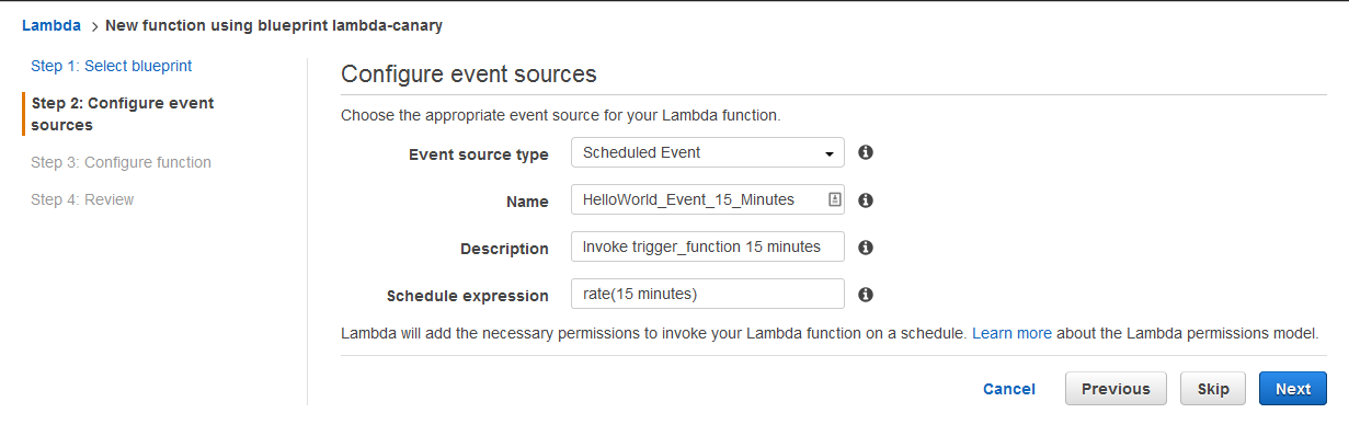 Lambda SSH Configure Events