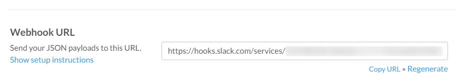 Slack incoming webhook configuration