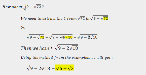 trick #2 of simplifying two nested radical
