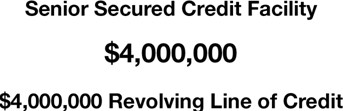 Secures  $4,000,000 Million Senior Secured Credit Facility