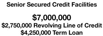 $7,000,000 Million Senior Secured Credit Facilities